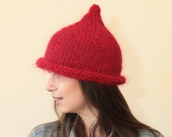 Hand Knit Hat, Red Hat, Pointed Hat by Solandia, Warm Winter Hat, children, adult sizing, Winter Fashion
