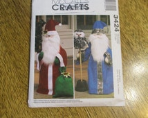 Traditional Santa Claus with Gift or WIZARD with Owl - Soft Sculpture Greeter Dolls - UNCUT Sewing Pattern McCalls 3424