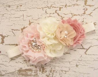 Flower Girl Hair Clip Headband Vintage Blush Rose Flower Girl Headband, Matching to Flower Girl Basket Set