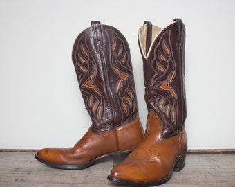 9 D | Men's ACME Inlay Brown Western Boots