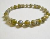 Bracelet, Labrodorite Gemstone, rhinestone spacers, gray, SP spacers, silver seed beads, STRETCH,