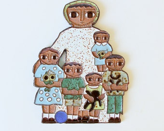 Vintage Ceramic Wall Plaque Family, Ceramic Cookie Wall Art by Father Maur van Doorslaer