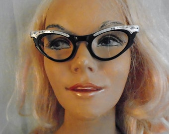 1950's Vintage Cateye Glasses With Rhinestones Vintage Eyeglasses Aluminum