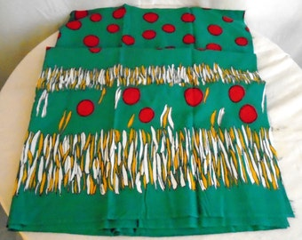 1950's Vintage Rayon Fabric Border Print Green Red Gold White Atomic Abstract Print 2 Yards +