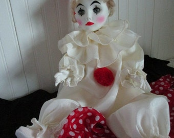Effanbee Pierrot Doll, French Mime, Clown, Collectible Doll, Vintage Pierrot Doll