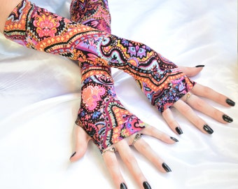 Arm Warmers Mehndi Fingerless Gloves Sleeves - Mendhikā - belly dance multicolored Tribal Bohemian gypsy boho ethnic rainbow Vibrant Gothic