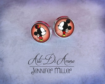 Kissing Mice Dangle or Stud Earrings