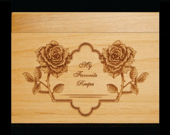 Rose, Custom Recipe Box, Personalized Recipe Box, Wood Recipe Box, Engraved Recipe Box,