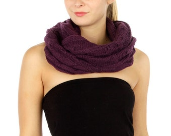Eggplant Purple Chunky Knitted Infinity Scarf, Loop Scarf, Circle Scarf Cable Pattern, Thick Knitted Scarf, Cable Scarf, Womens Scarves