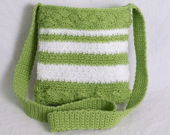 Small Chartreuse Green and White Striped Crochet Crossbody Purse, Casual Summer Bag, Woman's Small Item Purse Bag