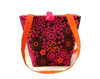 Floral Purse, Small Tote Bag, Brown Cloth Purse, Fabric Bag, Pink, Orange Flowers, Handmade Handbag, Shoulder Bag, Teen Purse