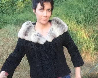 VTG 50's 60's Chinchilla Curly Lamb Fur crop Jacket Sz L M black 3/4 sleeve I MAGNIN