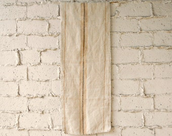 Vintage Woven Grain Sack, Authentic Natural Cotton/Hemp Striped Table Runner or Wall Hanging, Early 1900s Textile