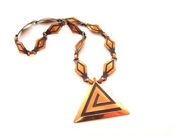 Linked Copper Necklace - Diamond Links / Triangle Pendant / Mid Century