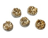 10 Round Resin Sparkly Gold DRUZY CABOCHONS, white backs, faux druzy, 8.5mm, cab0463a