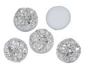 10 Round Resin Metallic Bright Silver Faux DRUZY CABOCHONS, 12mm  cab0194