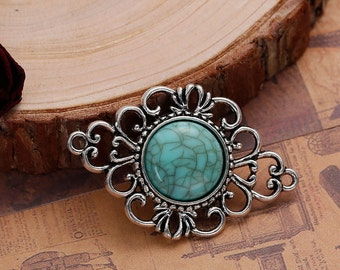 2 Filigree Pendants Findings, Bracelet Connector Links, Boho Chic Jewelry, Faux Turquoise and Silver Metal, chs2519