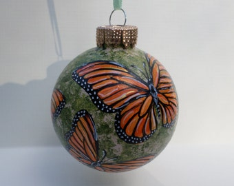 Hand Painted Christmas Glass Ornament Monarch  butterflies no206