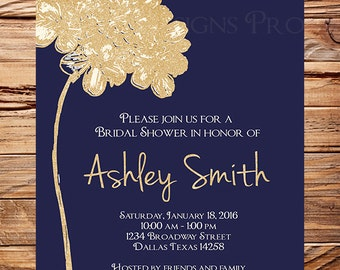Hydrangea Bridal Shower Invitation,  Navy, Gold, Glitter, Bridal Invitation, Gold, Glitter Hydrangea, Navy, Bridal Shower, digital, 5284