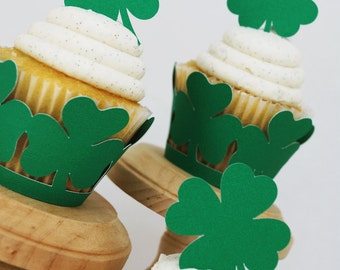 Saint Patrick Day Cupcake Wrappers and Die Cut Toppers In Your Choice of Color Qty 12