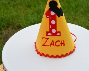 Mickey Mouse Birthday Hat, Personalized, Yellow