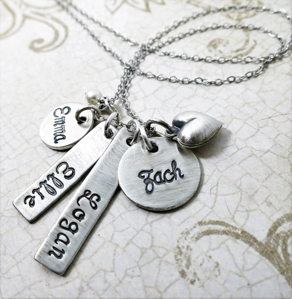 Family Necklace | Sterling Silver Charm Necklace | Kids Names | Four Names | Gift for Mom | Mommy Necklace | Mom Jewelry | Grandma Necklace