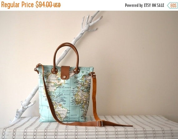 WINTER SALE Wife Gift,Girlfriend Gift, Mint World Map Bag, Leather Canvas Tote, Canvas Crossbody Bag, World Map Diaper Bag, Travel Gift