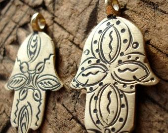 Moroccan medium shiny gold colour pendant with four star  design