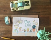 You Make Me Happy - Succulent Notecards - Individual or Set of 4