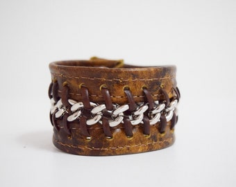 Brown Leather Cuff Bracelet Laced Silver Chain