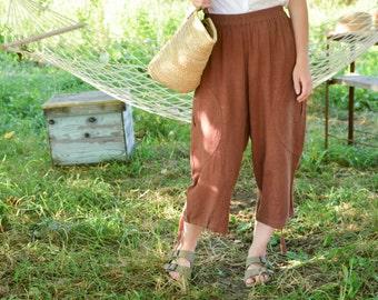 Brown Linen Pants Baggy Pants Vintage 80's