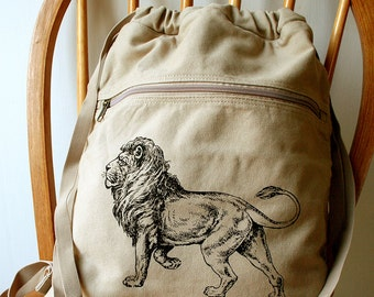 Lion Canvas Backpack School Bag Laptop Bag