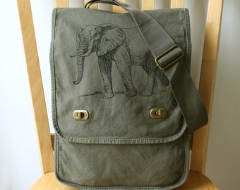 Elephant Canvas Messenger Bag Laptop Bag
