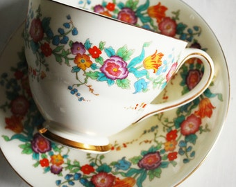 Royal Doulton Teacup and Saucer, Cream and Floral Vintage Tea Cup