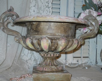 Antique Cast Iron Urn Shabby Nordic Romance Ornate Handles Detailed Base Chippy Hints of Pink Large Heavy Cast Iron Urn Shabby Romanic Decor