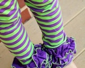 Halloween Ruffle Leggings - Monster Mash - knit ruffle leggings in lime green and purple - comfy knit ruffle pants with FREE SHIPPING