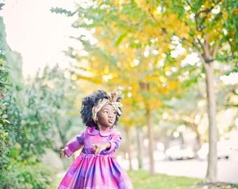 Girls Dress Plaid Cotton Dress Peter Pan Collar Twirl Skirt Buffalo Check Fabric Pink and Purple Baby Dress First Birthday Outfit Autumn