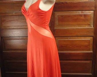 Bright Red Nightgown 1960s Sheer Panel Small Long Sexy Pin Up Nightie Blanche by Ralph Montenero