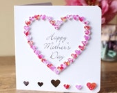 Handmade 3D Mother's Day Card, Personalised, Personalized, Happy Mothers Day, Love Heart, Pink, Customised, Mom, Mothering Sunday, (BHE05b)