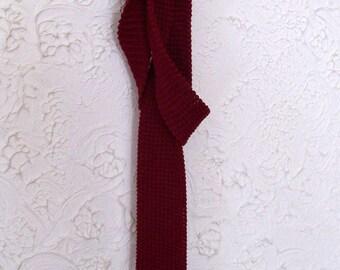 Mervyn's Pour Les Hommes Red Cotton Knit Necktie