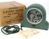 space heater, 1930s, Universal, Landers Frary and Clark, art deco, green, metal, vintage office, vintage heater, cloth cord, works great