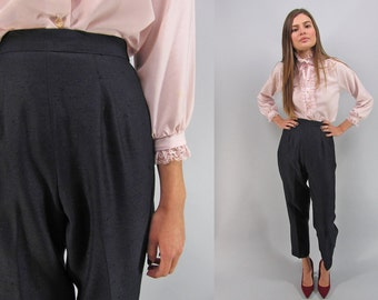 Vintage 80s Cigarette Pants, Trousers, Tapered Ankle Pants, High-Waist Cigarette Trousers, Tailored Pants Δ size: sm