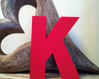 Hand-painted Wooden Letter K - Freestanding - Ariel Black Font - Various sizes, finishes and colours - 30cm