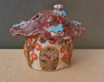 Red Fairy House tealight holder with blue butterflies -  Handmade ceramic votive holder - Candle luminary - New home gift - Whimsical gift