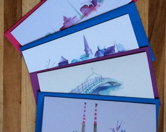 Pack of 4 watercolour Irish cityscape greeting cards