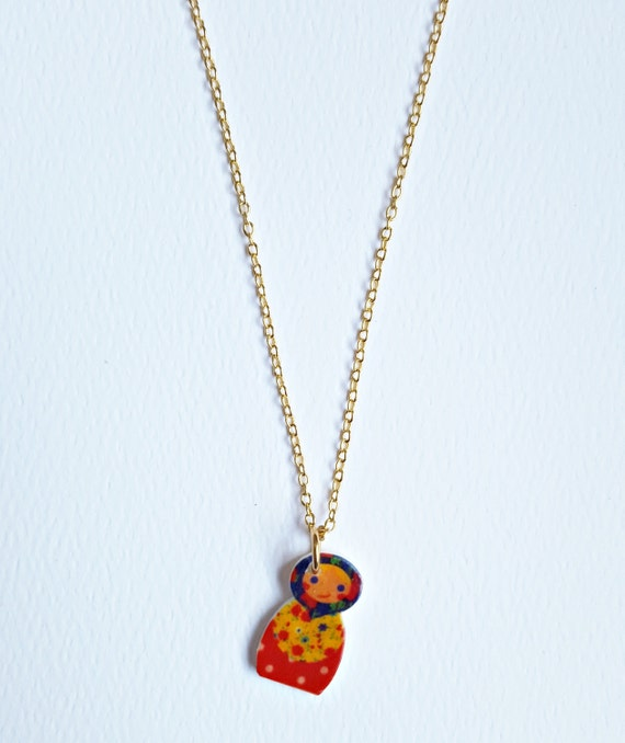 Russian Doll Necklace | Tiny Matryoshka | Cute Charm Necklace | Folk ...