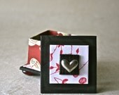 Ring Box Handmade with Pewter Heart for Gift or Engagement