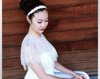 MARA - Beaded Bridal Headband, Bridal Hairpiece, Bridal Hair Accessory