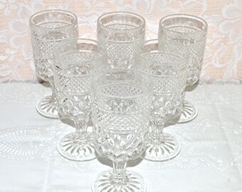 Anchor Hocking Wexford Water Goblets Set of 6 Six Glasses Vintage Goblets Footed Anchor Hocking Wexford Goblets