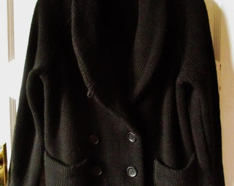 Lacoste Black Wool Jacket, Cardigan, Coat, S - M